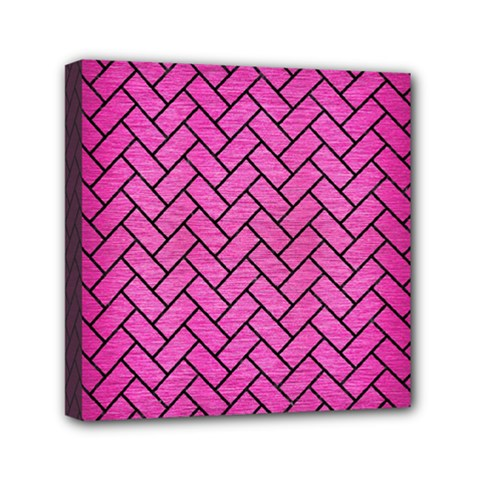 Brick2 Black Marble & Pink Brushed Metal Mini Canvas 6  X 6  by trendistuff