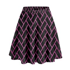 Brick2 Black Marble & Pink Brushed Metal (r) High Waist Skirt by trendistuff