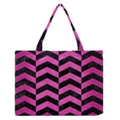 Chevron2 Black Marble & Pink Brushed Metal Zipper Medium Tote Bag by trendistuff