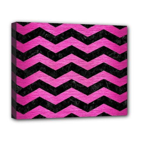 Chevron3 Black Marble & Pink Brushed Metal Deluxe Canvas 20  X 16   by trendistuff