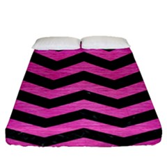 Chevron3 Black Marble & Pink Brushed Metal Fitted Sheet (queen Size) by trendistuff