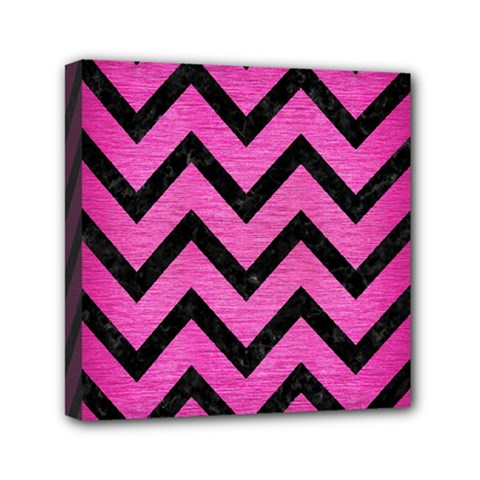 Chevron9 Black Marble & Pink Brushed Metal Mini Canvas 6  X 6  by trendistuff