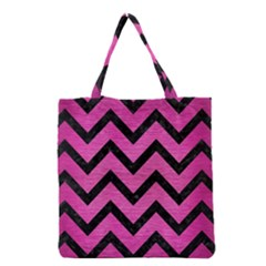 Chevron9 Black Marble & Pink Brushed Metal Grocery Tote Bag by trendistuff