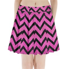 Chevron9 Black Marble & Pink Brushed Metal Pleated Mini Skirt by trendistuff