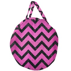 Chevron9 Black Marble & Pink Brushed Metal Giant Round Zipper Tote by trendistuff