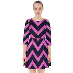 Chevron9 Black Marble & Pink Brushed Metal (r) Smock Dress