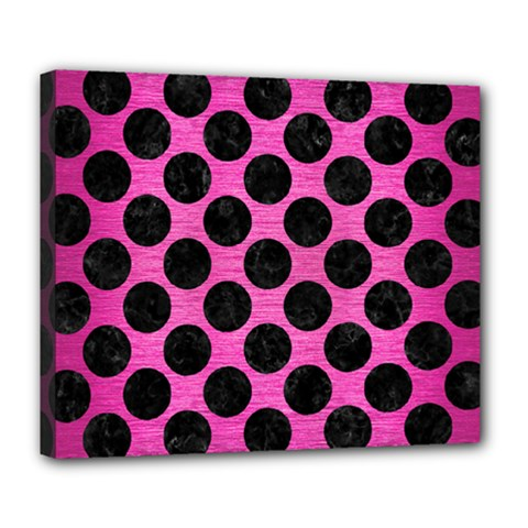 Circles2 Black Marble & Pink Brushed Metal Deluxe Canvas 24  X 20   by trendistuff