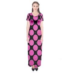 Circles2 Black Marble & Pink Brushed Metal (r) Short Sleeve Maxi Dress