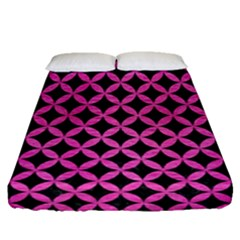 Circles3 Black Marble & Pink Brushed Metal (r) Fitted Sheet (queen Size) by trendistuff