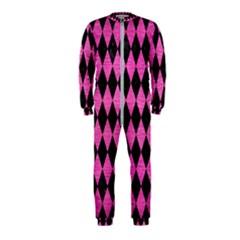 Diamond1 Black Marble & Pink Brushed Metal Onepiece Jumpsuit (kids)