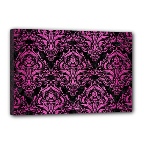 Damask1 Black Marble & Pink Brushed Metal (r) Canvas 18  X 12  by trendistuff