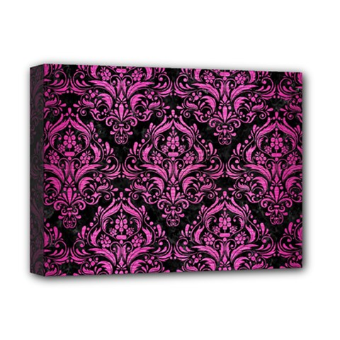 Damask1 Black Marble & Pink Brushed Metal (r) Deluxe Canvas 16  X 12   by trendistuff