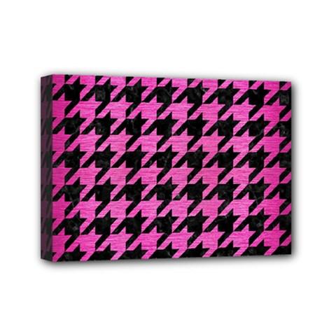 Houndstooth1 Black Marble & Pink Brushed Metal Mini Canvas 7  X 5  by trendistuff