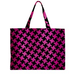 Houndstooth2 Black Marble & Pink Brushed Metal Zipper Mini Tote Bag by trendistuff