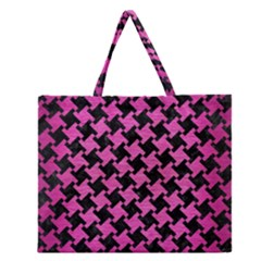 Houndstooth2 Black Marble & Pink Brushed Metal Zipper Large Tote Bag by trendistuff