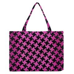 Houndstooth2 Black Marble & Pink Brushed Metal Zipper Medium Tote Bag by trendistuff