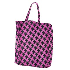 Houndstooth2 Black Marble & Pink Brushed Metal Giant Grocery Zipper Tote by trendistuff
