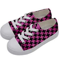 Houndstooth2 Black Marble & Pink Brushed Metal Kids  Low Top Canvas Sneakers by trendistuff
