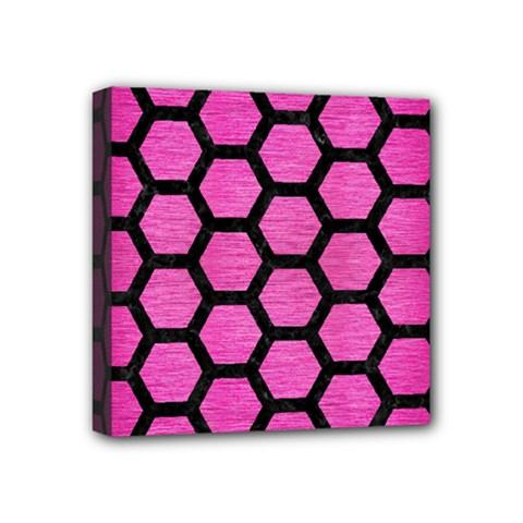 Hexagon2 Black Marble & Pink Brushed Metal Mini Canvas 4  X 4  by trendistuff