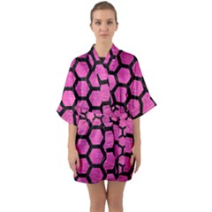 Hexagon2 Black Marble & Pink Brushed Metal Quarter Sleeve Kimono Robe
