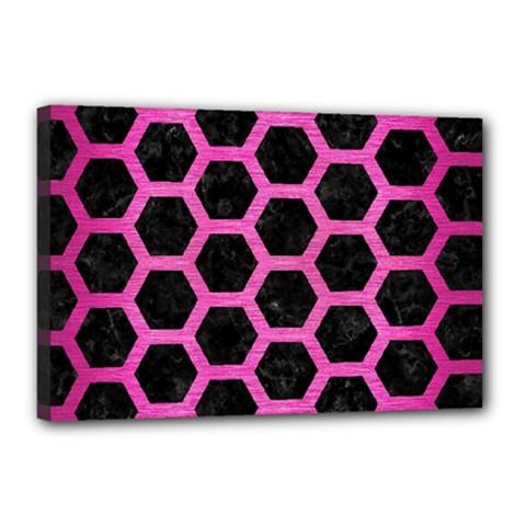 Hexagon2 Black Marble & Pink Brushed Metal (r) Canvas 18  X 12  by trendistuff