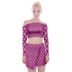 Scales1 Black Marble & Pink Brushed Metal Off Shoulder Top With Mini Skirt Set