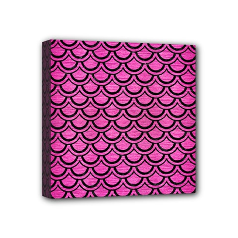 Scales2 Black Marble & Pink Brushed Metal Mini Canvas 4  X 4  by trendistuff