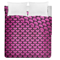 Scales3 Black Marble & Pink Brushed Metal Duvet Cover Double Side (queen Size) by trendistuff
