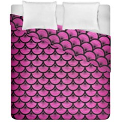 Scales3 Black Marble & Pink Brushed Metal Duvet Cover Double Side (california King Size) by trendistuff