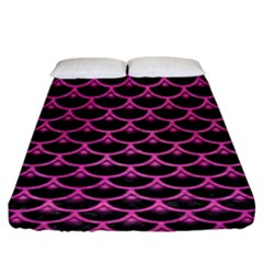 Scales3 Black Marble & Pink Brushed Metal (r) Fitted Sheet (king Size) by trendistuff