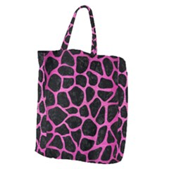 Skin1 Black Marble & Pink Brushed Metal Giant Grocery Zipper Tote by trendistuff