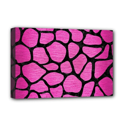 Skin1 Black Marble & Pink Brushed Metal (r) Deluxe Canvas 18  X 12   by trendistuff