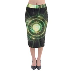 Green Chaos Clock, Steampunk Alchemy Fractal Mandala Midi Pencil Skirt by jayaprime