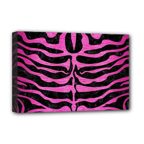 Skin2 Black Marble & Pink Brushed Metal (r) Deluxe Canvas 18  X 12   by trendistuff