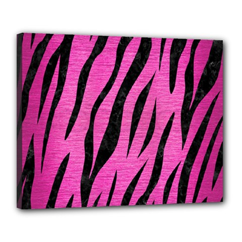Skin3 Black Marble & Pink Brushed Metal Canvas 20  X 16  by trendistuff