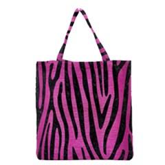 Skin4 Black Marble & Pink Brushed Metal (r) Grocery Tote Bag by trendistuff