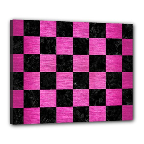 Square1 Black Marble & Pink Brushed Metal Canvas 20  X 16  by trendistuff
