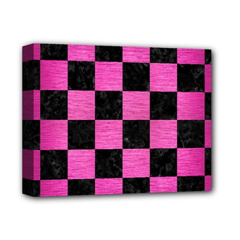 Square1 Black Marble & Pink Brushed Metal Deluxe Canvas 14  X 11  by trendistuff