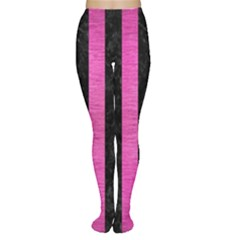 Stripes1 Black Marble & Pink Brushed Metal Women s Tights by trendistuff