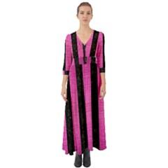 Stripes1 Black Marble & Pink Brushed Metal Button Up Boho Maxi Dress