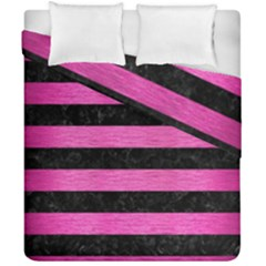 Stripes2 Black Marble & Pink Brushed Metal Duvet Cover Double Side (california King Size) by trendistuff