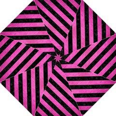 Stripes3 Black Marble & Pink Brushed Metal Straight Umbrellas by trendistuff