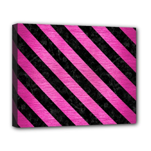 Stripes3 Black Marble & Pink Brushed Metal Deluxe Canvas 20  X 16   by trendistuff