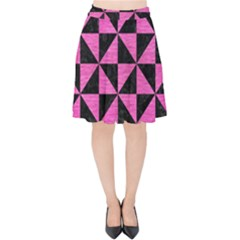 Triangle1 Black Marble & Pink Brushed Metal Velvet High Waist Skirt by trendistuff