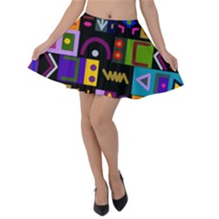Abstract A Colorful Modern Illustration Velvet Skater Skirt
