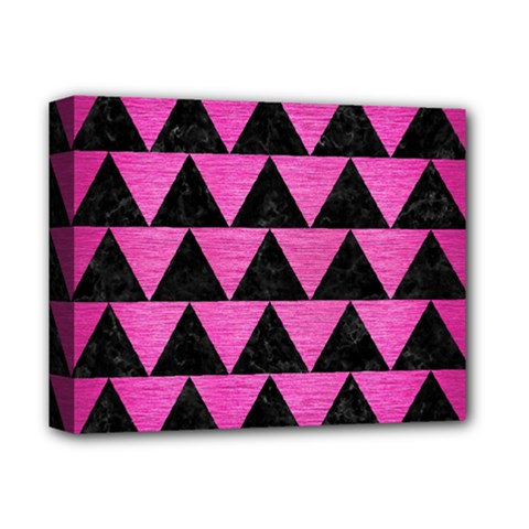 Triangle2 Black Marble & Pink Brushed Metal Deluxe Canvas 14  X 11  by trendistuff