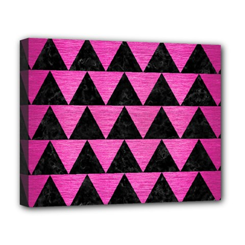 Triangle2 Black Marble & Pink Brushed Metal Deluxe Canvas 20  X 16   by trendistuff
