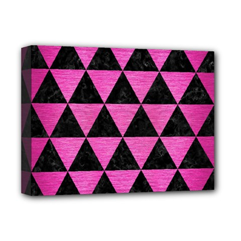 Triangle3 Black Marble & Pink Brushed Metal Deluxe Canvas 16  X 12   by trendistuff