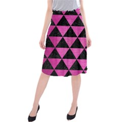 Triangle3 Black Marble & Pink Brushed Metal Midi Beach Skirt