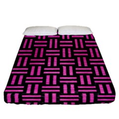 Woven1 Black Marble & Pink Brushed Metal (r) Fitted Sheet (queen Size) by trendistuff